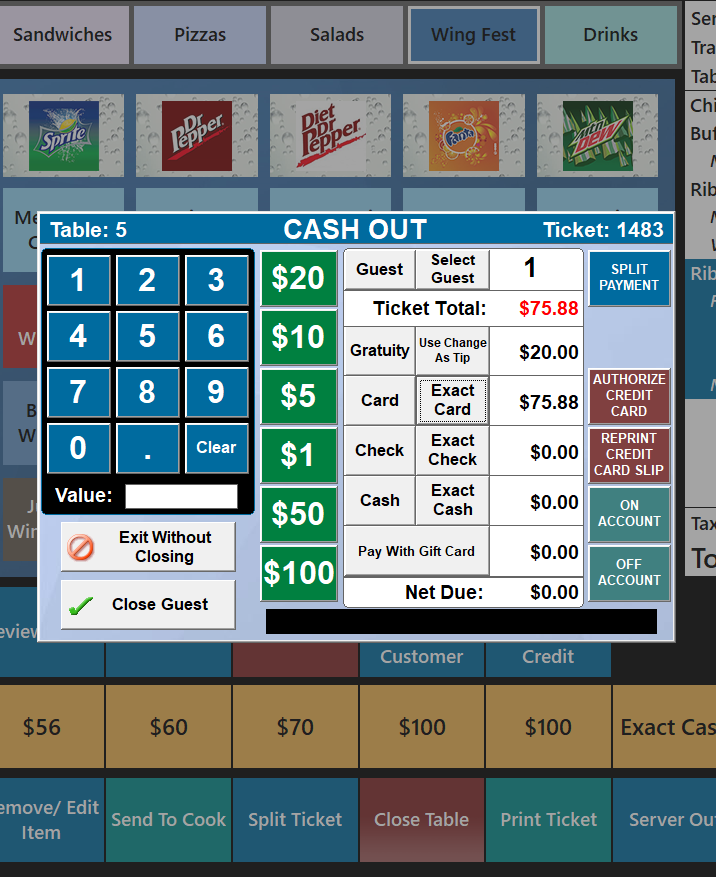 Restaurant Cashout Screen
