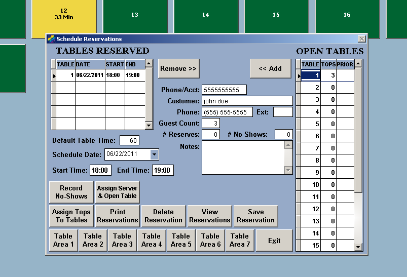 Restaurant Reservation Software Screen 2