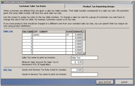 Sales Tax Table
