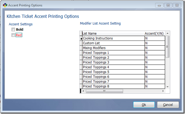 Configure Red or Bold Accent Printing