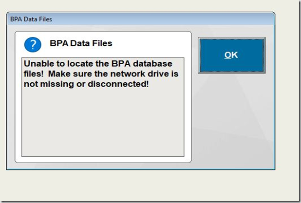 BPA Database Error