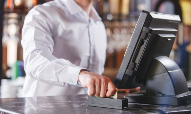 Business using a modern POS system for sales